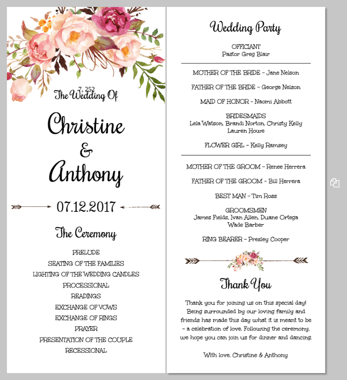 Printing Your Program Template Front And Back Templett Blog - Floral wedding program templates