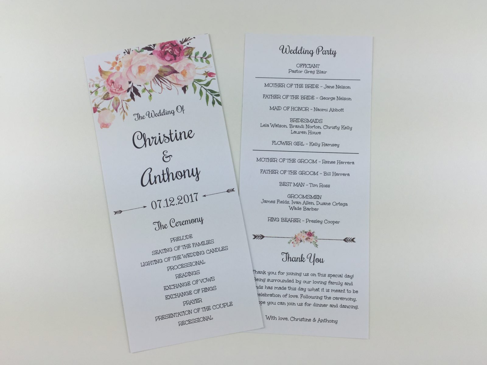 Program template printed on both sides