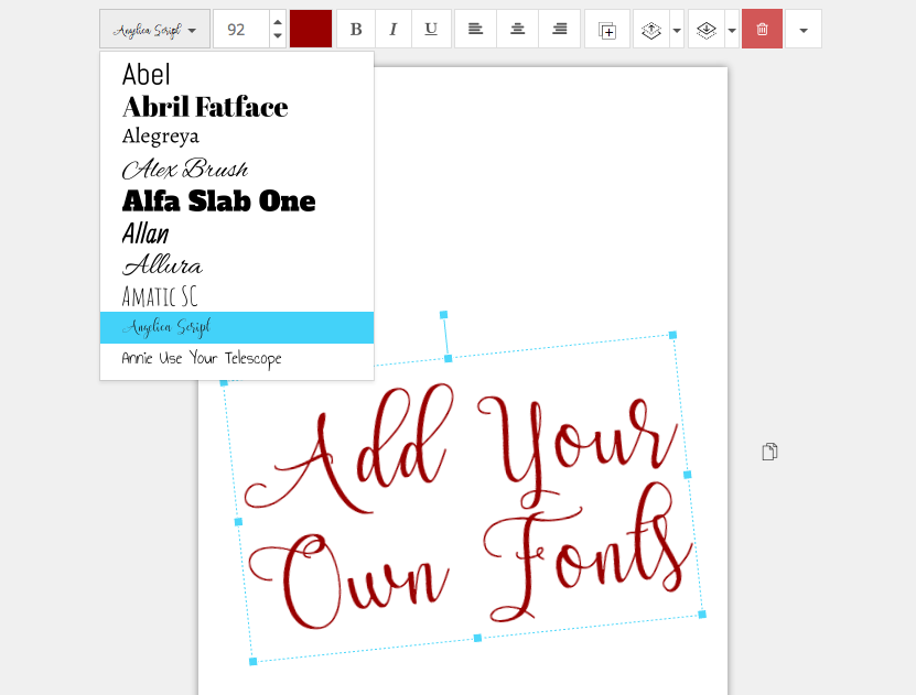 Add your own fonts